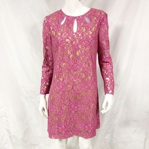 JUICY COUTURE Pink Contrast Lace Shift Dress
